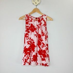 Halogen hibiscus print double layer silky tank